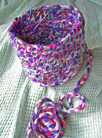 coiled basket in progress