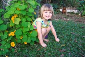 child in a nasturtium patch of a no-dig garden