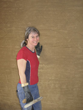 Interview with a woman straw bale builder