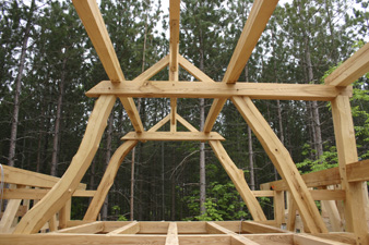 straw-clay house framing